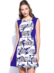 French Connection Blue & White Printed Fit & Flare Dress