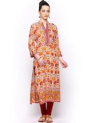 Shree Women Orange & Beige Printed Kurta