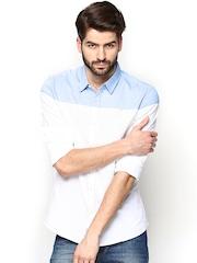 Being Human Clothing Men White & Blue Slim Fit Casual Shirt