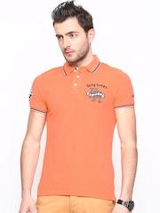 Being Human Clothing Men Orange Polo T-shirt