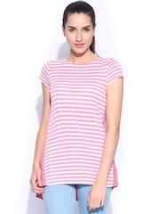 Honey by Pantaloons Women Pink & White Striped Top