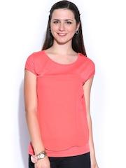 Honey by Pantaloons Women Coral Pink Layered Top