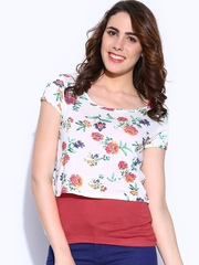Honey by Pantaloons Women Off-White & Red Printed Layered Top