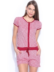 SDL by Sweet Dreams Women Red Melange Lounge Playsuit 232974