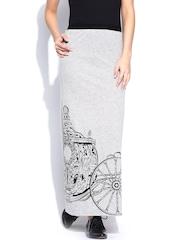 Kook N Keech Disney Grey Melange Printed Maxi Skirt