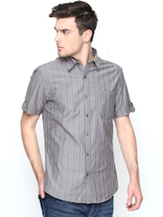 John Players Men Taupe Striped Trim Fit Casual Shirt
