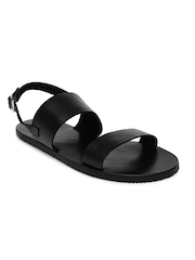 Van Huesen Men Black Leather Sandals