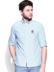 Ed Hardy Men Blue Slim Fit Casual Shirt
