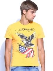 Ed Hardy Men Mustard Yellow Printed T-shirt