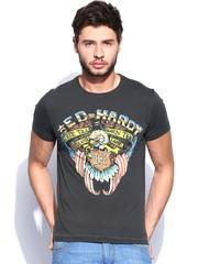 Ed Hardy Men Charcoal Grey Printed T-shirt