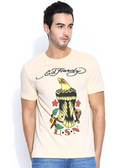 Ed Hardy Men Beige Printed T-shirt