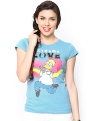 Simpsons by Free Authority Women Blue Printed T-shirt