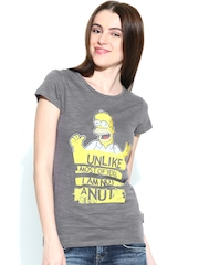 The Simpsons by Free Authority Women Grey Printed T-shirt