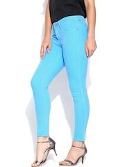 Lee Women Turquoise Blue Linda Skinny Fit Ankle-Length Jeggings