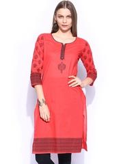 Anouk Women Red Printed Kurta