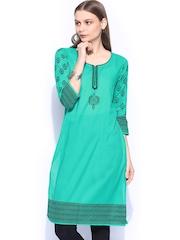 Anouk Women Green Printed Kurta