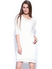 Vero Moda Women White Lace Sheath Dress