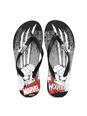 Kook N Keech Marvel Men Black Printed Flip-Flops