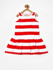 People Prep Girls Red & White Striped Drop Waist Dress
