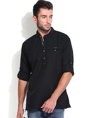 Locomotive Men Black Slim Fit Linen Casual Shirt