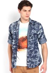Locomotive Men Blue Printed Slim Fit Denim Casual Shirt