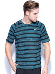 Nike Men Blue & Black Printed T-shirt