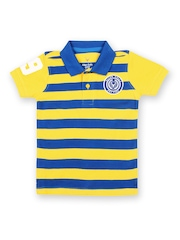 Allen Solly Junior Boys Yellow & Blue Striped Polo T-shirt