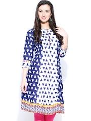 Rangmanch by Pantaloons Women Blue & Off-White Printed A-Line Kurta