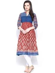 Rangmanch by Pantaloons Women Maroon & Navy Printed Anarkali Kurta
