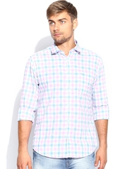 Peter England Men White Checked Slim Fit Casual Shirt