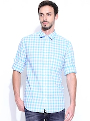 Peter England Men White & Blue Checked Slim Fit Casual Shirt