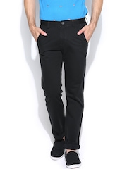 Peter England Men Black Slim Fit Casual Trousers
