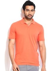 Calvin Klein Jeans Men Peach-Coloured Polo T-shirt
