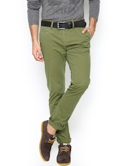 FREECULTR Men Olive Green Skinny Fit Chino Trousers