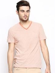FREECULTR Men Orange & White Striped T-shirt