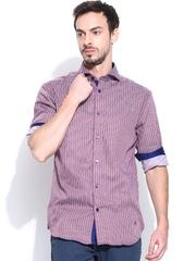 Jack & Jones Men Maroon & Blue Striped Slim Fit Formal Shirt