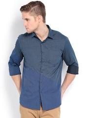 Black Coffee Men Blue Slim Fit Smart Casual Shirt