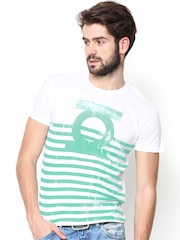DC Comics Men White & Green Striped T-shirt