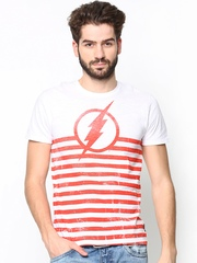DC Comics Men White & Orange Striped T-shirt