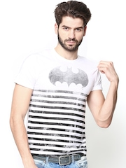 DC Comics Men White & Black Striped T-shirt