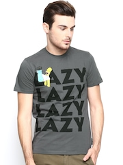 Simpsons by Free Authority Men Grey Printed T-shirt
