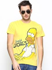 Simpsons Men Yellow Printed T-shirt
