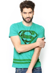 Superman by Free Authority Men Sea Green Printed T-shirt