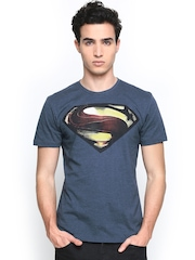Superman by Free Authority Men Blue Printed T-shirt