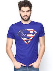 Superman by Free Authority Men Royal Blue Printed T-shirt