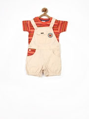 FS Mini Klub Boys Beige Dungarees with Orange Striped T-shirt