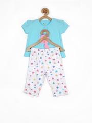FS Mini Klub Infant Girls Blue & White Printed Clothing Set