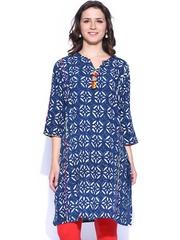 Anouk Women Blue Hand Block Printed Kurta