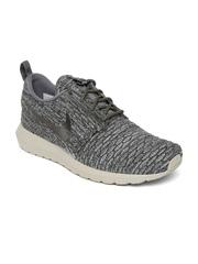 Nike Men Grey & Olive Green Flyknit Rosherun Casual Shoes