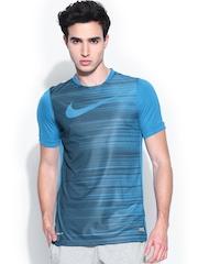 Nike Men Blue Printed Football T-shirt